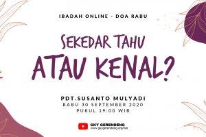 Ibadah Online Doa Rabu 30 September 2020